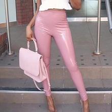 Women PU Leather Legging Pants Skinny Elastic High Waist Sexy Lady Legging Slim Fitness Ankle Faux Leather Legging Pants tanie tanio SHUJIN Kostek STANDARD Suknem M152918 Wysoka Na co dzień spandex Stałe SLIVER RUST ROUGE RED BLACK BLUE S M L XL