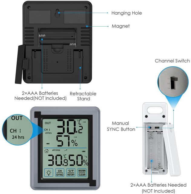 Wireless Thermometer Digital Hygrometer Thermometer Indoor Outdoor with 3 Sensor Humidity Monitor Touchscreen Backlight 2