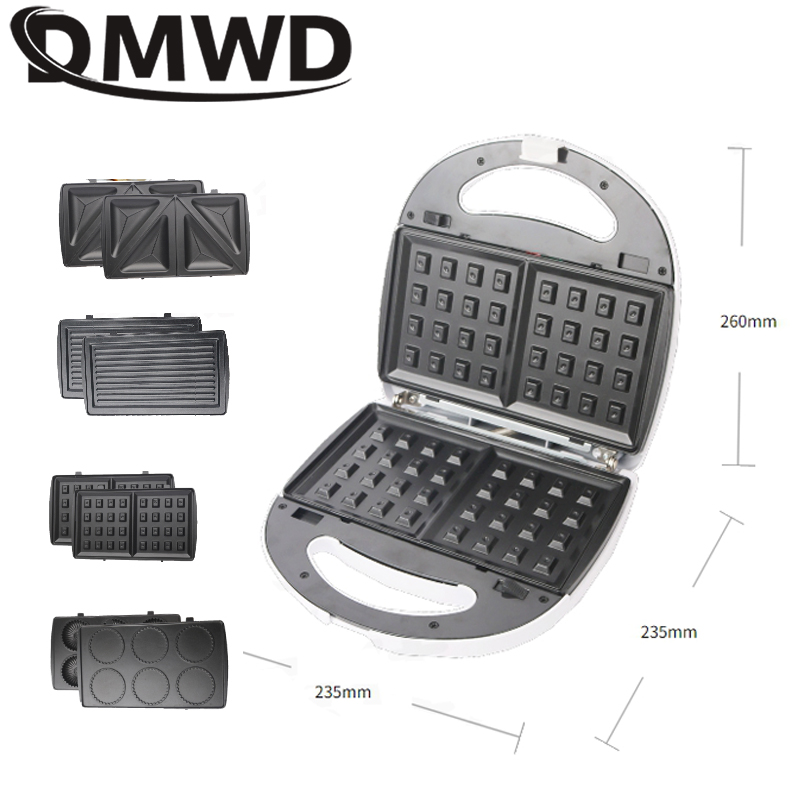 DMWD Multifunction Electric Egg Waffle Maker Muffin Pancake Donut Cake Machine Iron Baking Pan 4 Changeable Plates 750W EU US