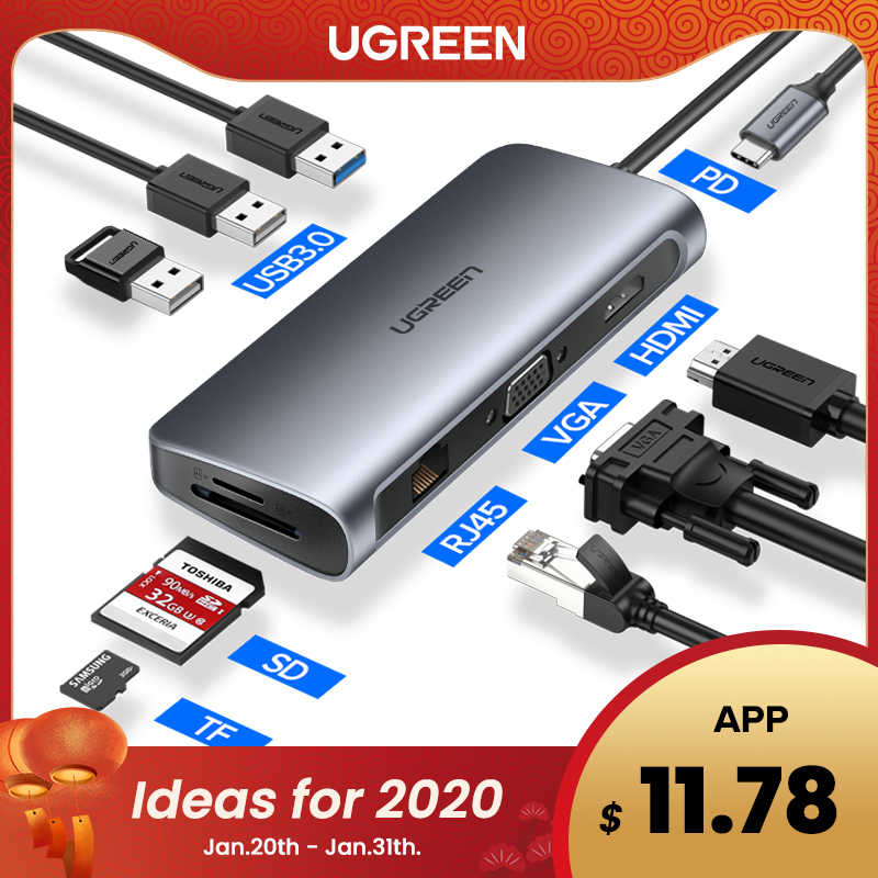 Ugreen Usb Hub C Hub per Multi Usb 3.0 Hdmi Dock Adapter per Macbook Pro Accessori USB-C Tipo C 3.1 splitter 3 Port Usb C Hub