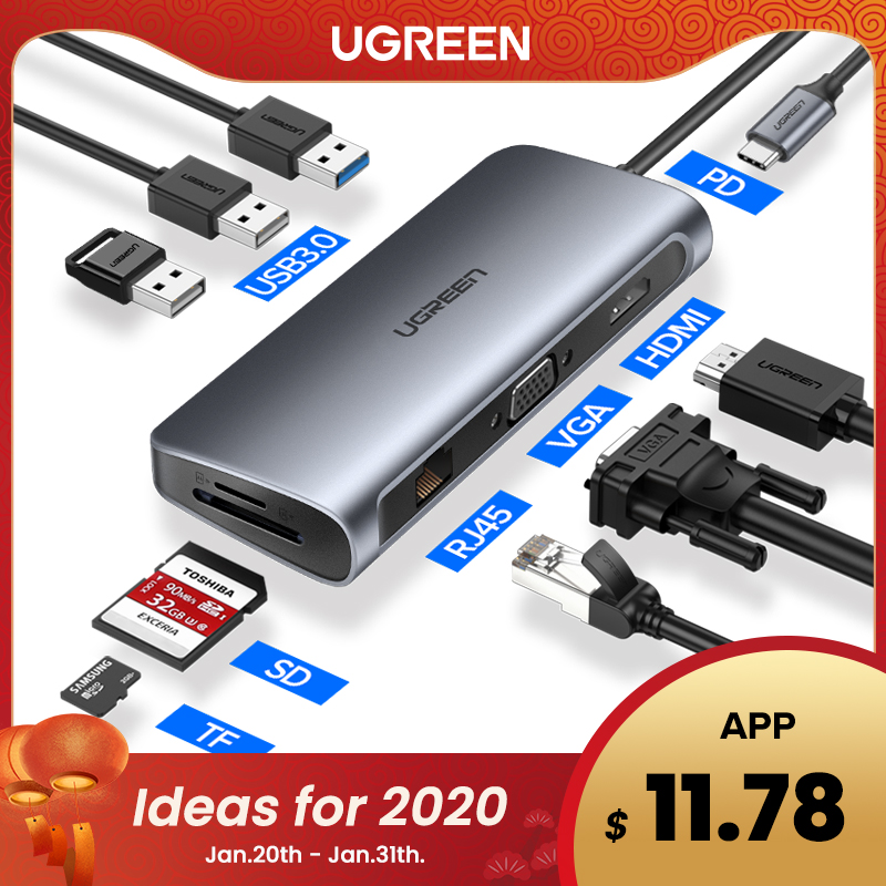 Ugreen hub usb c hub para multi usb 3.0 adaptador hdmi doca para macbook pro acessórios USB-C tipo c 3.1 divisor 3 portas usb c hub