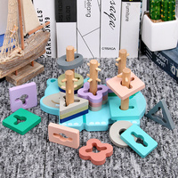 Baby wooden toys Blocks Hippo Five Columns Montessori peg puzzle classic 5 pillars intelligence blocks toy gift Free shipping