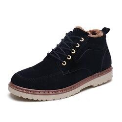 2019 Dos Homens de Super Quentes de Inverno Ankle Boots De Couro Camurça Homens Outono Botas de Neve Outono Botas de Lazer Sapatas Dos Homens