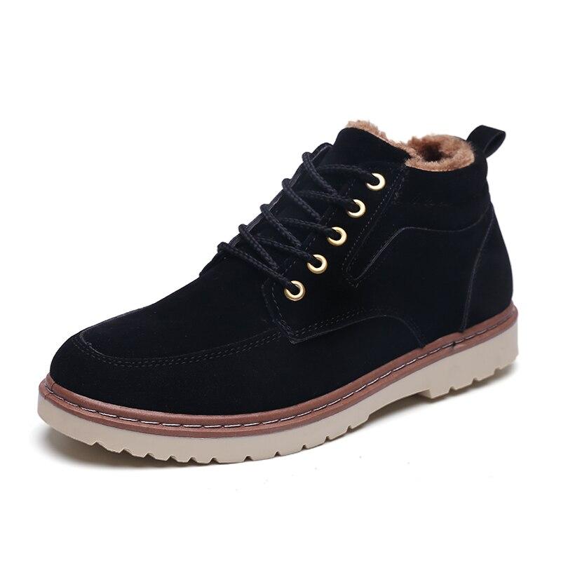 2019 Super Warm Men's Winter Suede Leather Ankle Boots Men Autumn Snow Boots Leisure Autumn Boots Mens Shoes