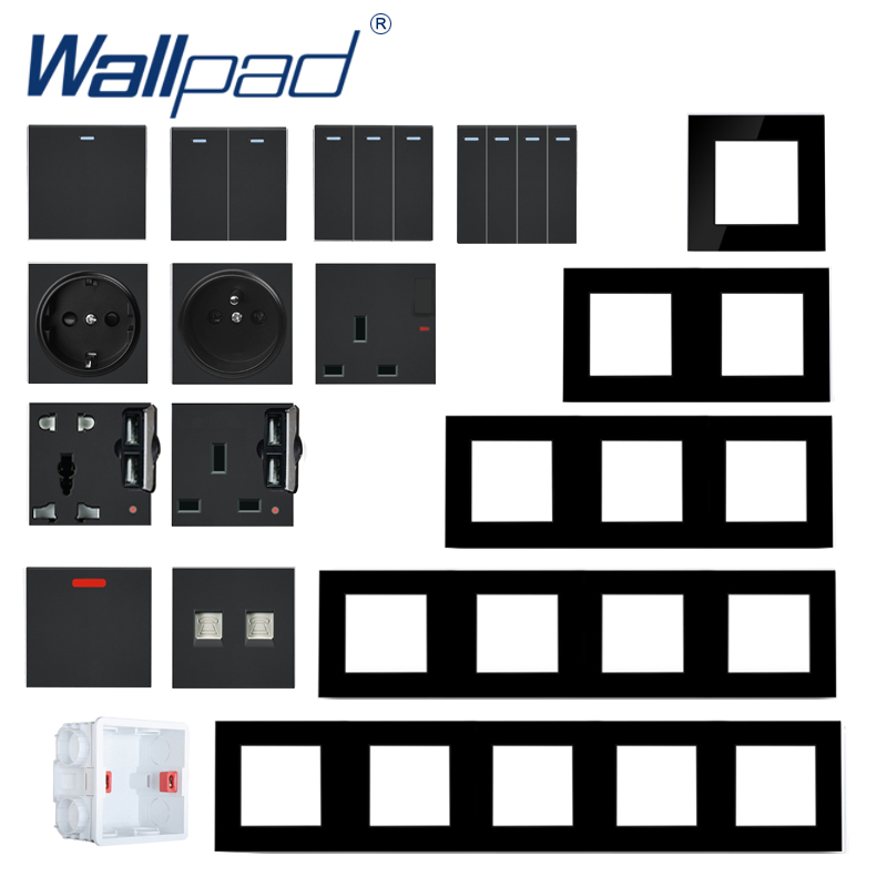 S6 Series Glass Switch and Socket DIY Combination Wall Button Light witch Power Outlet Socket Crystal Black Glass DIY Wallpad 1