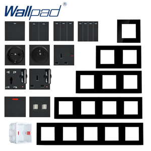 S6 Series Glass Switch and Socket DIY Combination Wall Button Light witch Power Outlet Socket Crystal Black Glass DIY Wallpad