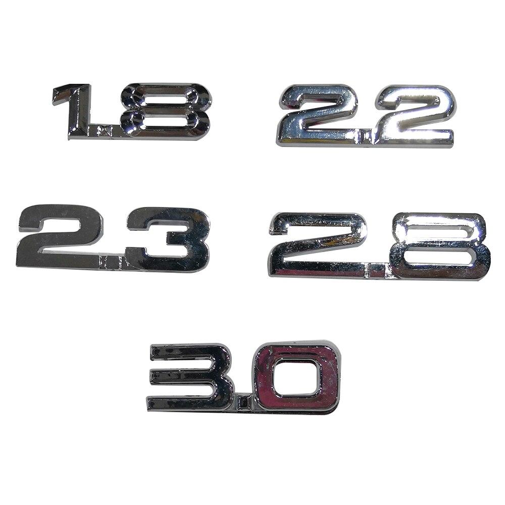 2 шт. 3D 1,8 2,2 логотип двигателя объемный багажник задний автомобильный значок наклейка хром 1,8 2,2 3,0 боковое крыло оформление