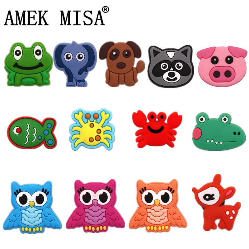 Single Sale 1 Pcs Cute Animals Shoe Charms Accessories Garden Shoe Decoration For Croc Jibz Kid's Party X-mas Gift Free Shipping