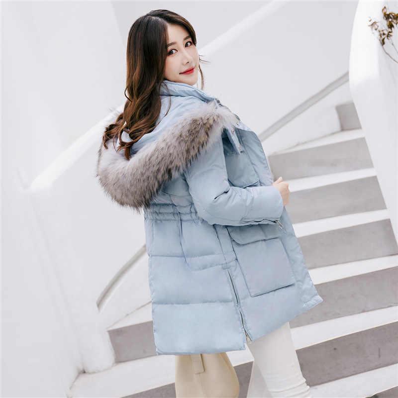 Para baixo pato branco jaqueta mulher com capuz casaco de inverno das mulheres gola de pele grande rosa para baixo jaquetas casaco feminino kj642 s