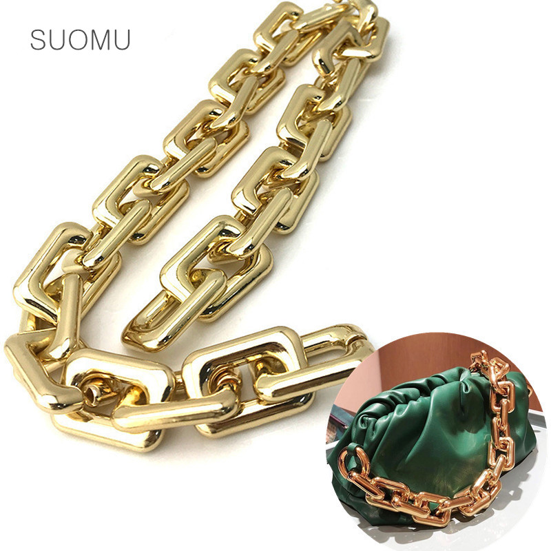 Gold Bronze Metal Thick Large Big Rectangle Chains Strap Acrylic Luxury Handbag Belt Bag Strap Accessories Hardware High Quality