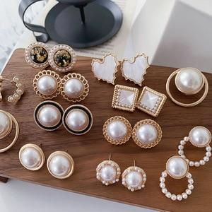 Geometry Pearl Earrings Retro Temperament Elegant Wedding Brincos Wholesale Jewelry For Women