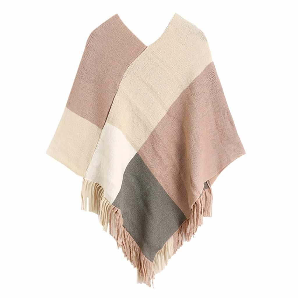2019 sciarpa delle donne di Marca di lusso di Nuovo Modo di Inverno Cuciture Stampa Nappa Batwing Maglione TopWomen Winte Stampa foulard femme