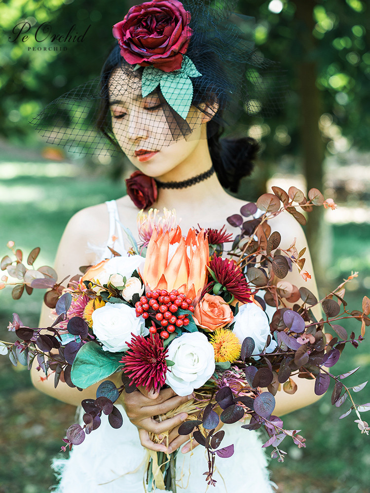 PEORCHID Autumn New 2020 Orange Red Wedding Bouquets Rose Eucalyptus Artificiel Bride Hand Holding flower Bridal Decoration