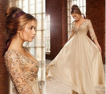 2018 Sexy Deep V Neck Half Sleeves Champagne Chiffon Long Prom Beaded Lace Formal Evening gown mother of the bride dresses new red champagne flower girl dresses long sleeves lace satin mother daughter dresses for children christmas party prom gown