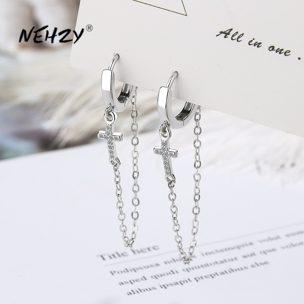 NEHZY 925 Sterling Silver New Women's Fashion Jewelry High Quality Crystal Zircon Cross Exaggerated Long Tassel Earrings