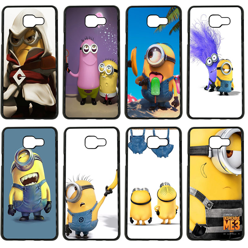 Yellow Lovely Minions Cell Phone Cases Black Hard Plastic Cover for Samsung Galaxy S8 S9 Plus S3 S4 S5 Mini S7 S6 Edge Plus Case image