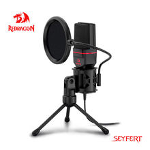 Redragon GM100 Seyfert Omni Microphone Avec Trépied Audio 3,5mm Ordinateur Studio Pour PC Téléphone Karaoké Téléphone d'enregistrement Karaoké