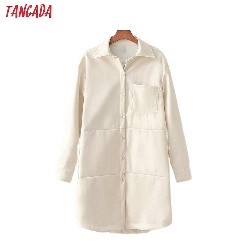 Tangada Women White Faux Leather Jacket Coat 2020 Spring Fashion Long Sleeve Loose Oversize Boy Friend Female Coat 1D209