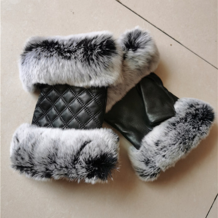 Autumn Winter Women's Plaid Fingerless Gloves 100% Real Rex Rabbit Fur Genuine Sheepskin Mittens