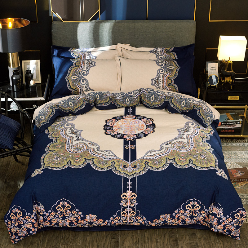 60 Cotton Brushed Activity Printed Four-piece Bedding Set Autumn And Winter Thick Pure Cotton 4 Pieces In A Set Wedding Kit Gift