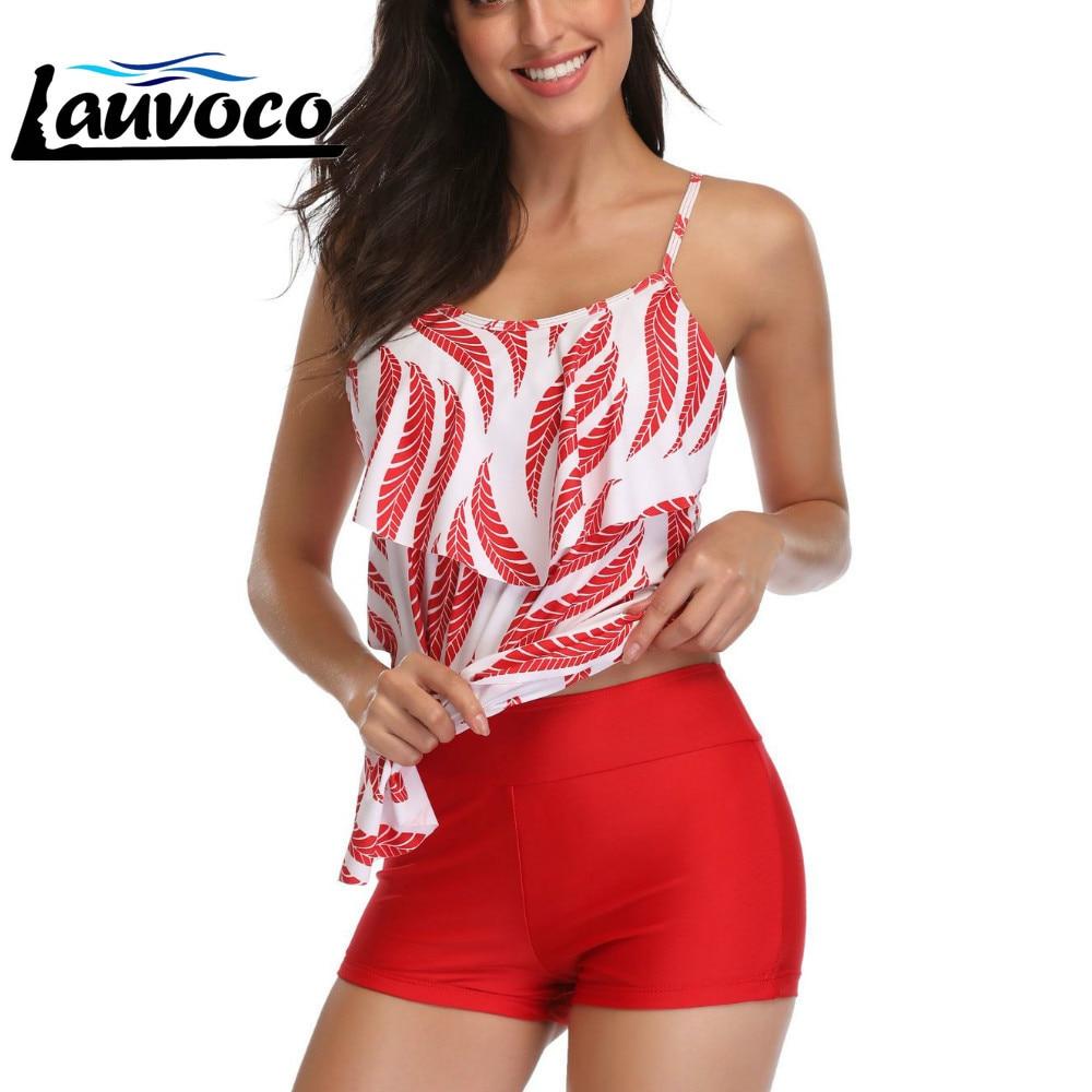 Plus Size Two Piece Swimsuit High Waist Floral Print Swimwear Women Tankini Shorts Ruffle Bathing Suit Big Size Tankinis Set 2XL