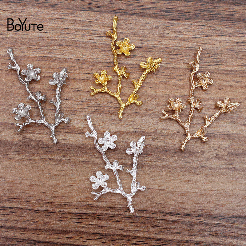BoYuTe Factory Wholesale (20 Pieces/Lot) Flower Tree Branch Metal Alloy Materials Diy Hair Jewelry Accessories