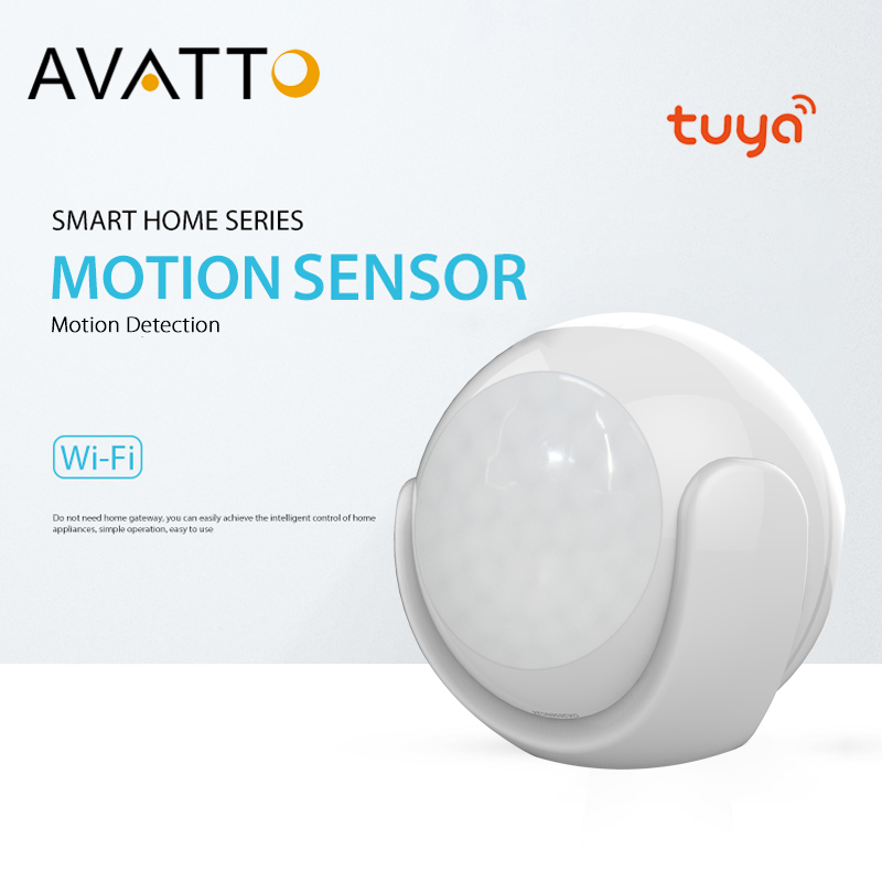 AVATTO Tuya Wifi Motion Sensor Alarm Detector,PIR Motion Dectector With Smart-life App Notification Alerts Smart Home Automation