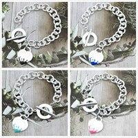 Sterling Silber 925 Klassische Mode Exklusive Blau Emaille Wasser Splash Herz Geformt Dame Armband Schmuck Urlaub Geschenk