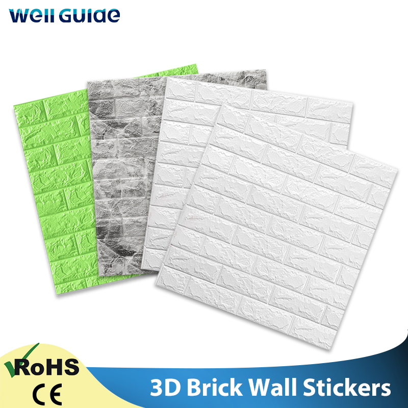 Wall Paper 3D Sticker Self-Adhesive Brick Marble Embossed DIY For Kids Room Kitchen Bedroom Waterproof Sticker 3D Wallpaper