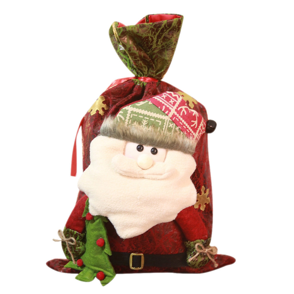 Sleeper #W401 2019 FASHION Drawstring Bag Christmas Red Cartoon Old Man Snowman Candy Tote Child Gift Bag Unique Free Shipping