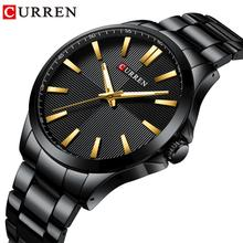 CURREN Black Men Business Watches Stainless Steel Waterproof Sport Clock Reloj Dorado Hombre Male Watch