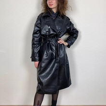 Jacket Trench-Coat PUWD Oversized Female Vintage Black Woman Ladies Autumn Fashion Epaulet