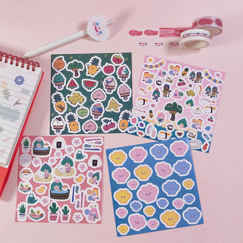 1 Sheet Cute Cartoon Paper Stickers Decorative Stationery Diary Label Sticker