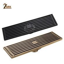 цена на ZGRK Drains Euro Style Antique Brass Bathroom Linear Shower 8*30cm Floor Drain Wire Strainer Art Carved Cover Waste Drain