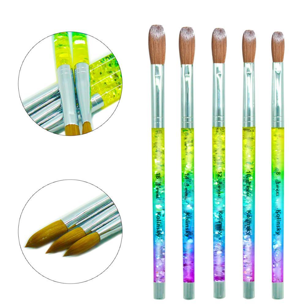 Eval Rainbow Aqua 100% Kolinsky Sable hair Brush Acrylic Nail Brush UV GEL Manicure Powder Pedicure with Liquid Glitter Handle