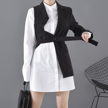 Women Black Asymmetrical Contrast Color Blazer New Lapel Long Sleeve Loose Fit Jacket Fashion Spring Autumn 2020 2019 spring new women half sleeve loose flavour black dress long summer vestido korean fashion outfit o neck big sale costume