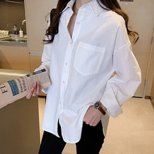 Casual Loose Cotton Women Blouse Shirts Buttons Solid Color Women Spring Autumn