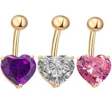 1Pc Heart-shape Crystal Belly Nail Navel Rings Fashion Stainless Steel Button Body Piercing Jewelry