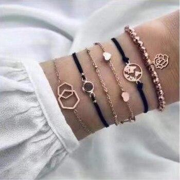 20 Styles Women Girls Mix Round alloy Crystal Marble Charm Bracelets Fashion Boho Heart Shell Letter Bracelets Sets Jewelry Gift 8