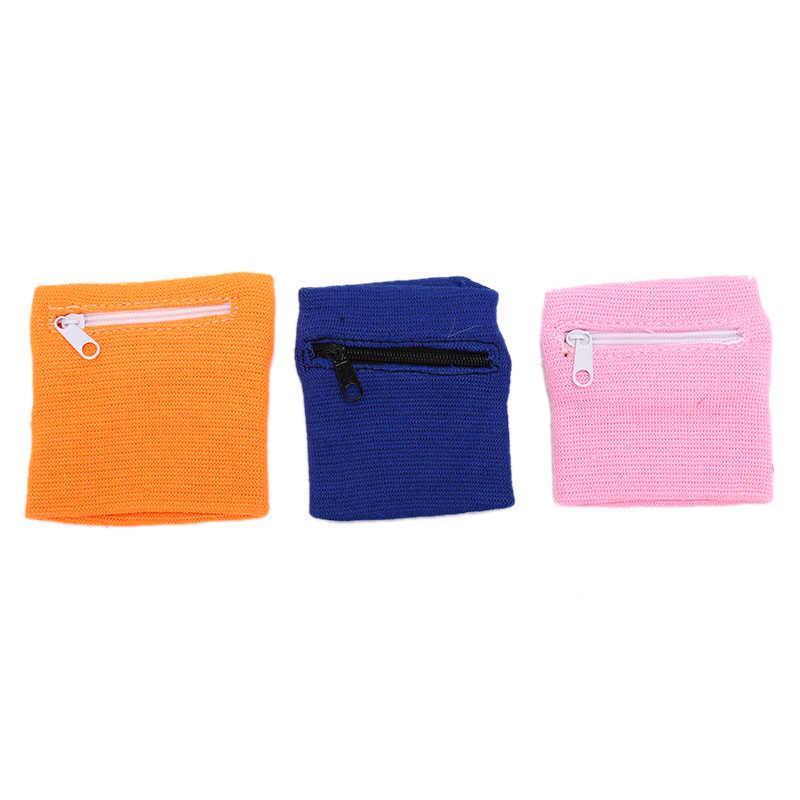 สายรัดข้อมือฝ้ายกีฬา Sweatband ซิปกระเป๋าสตางค์สำหรับวิ่งบาสเกตบอลเทนนิสเหงื่อสายรัดข้อมือ Wraps GUARD
