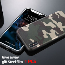 Army green mobile phone case iPhone 11 Pro X XR XS Max 6 6S 7 8 Plus Camouflage phone case Ultra thin TPU soft leather case protective phone back case for iphone 6 6s ultra thin tpu soft mobile shell with pattern