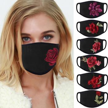 strong Import List strong Kobiety maski na twarz moda róża wzór bawełna czarna maska dla dorosłych outdoor anti-dust maska sportowa nowy 2020 zmywalny maske tanie i dobre opinie COTTON NONE Z Chin Kontynentalnych WOMEN Drukuj