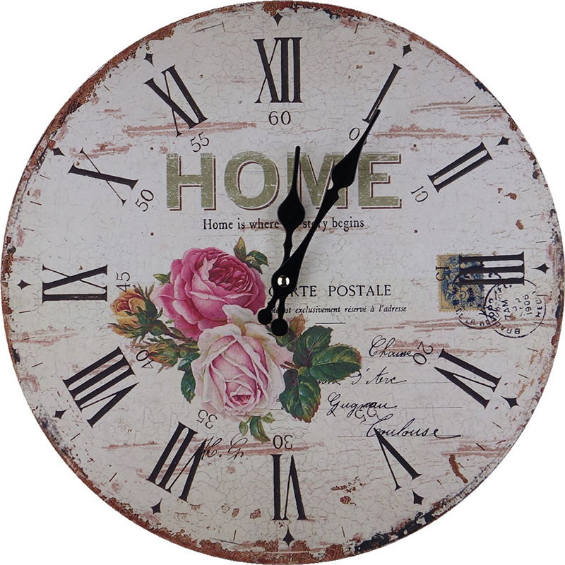 14 Inch European Retro Wooden Wall Clock Round European Retro Creative Decorative Quartz Wall Clock European And American Wooden