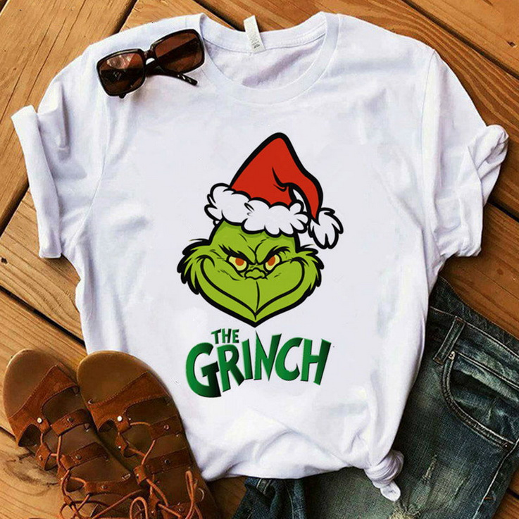 Grinch Print T-shirt Women's Cute Letter Grinch Harajuku T shirt Women's Top Christmas Fashion Clothing Grinch Graphic T shirt