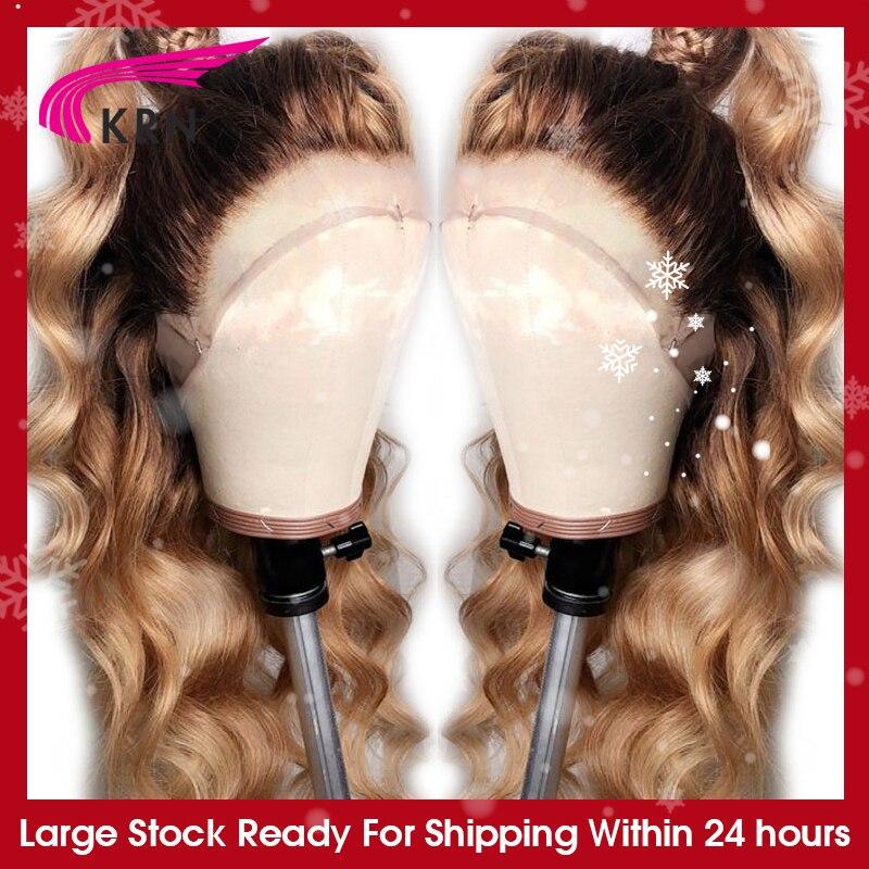Krn #4/27 ombre brasileiro 13x4 laço frontal perucas de cabelo humano combabyhair onda do corpo remy pré arrancado peruca dianteira do laço para mulher 180