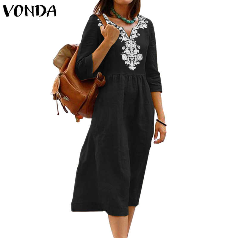 Vestido de verano de talla grande de 2019 VONDA para mujer vestido de verano Casual de manga 3/4 estampado Vintage de media pantorrilla vestido bohemio para fiesta de playa vestidos