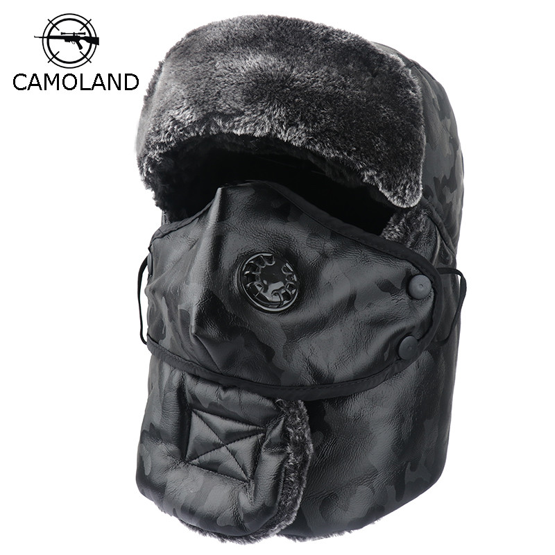 Winter Warm Earflap Bomber Hats Caps Scarf Men Women Russian Trapper Thermal Hat Trooper Earflap Snow Ski Hat Cap With Fack Mask