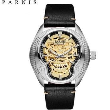 43mm Parnis Business Watch Men Luminous Sapphire Glass Mechanical Watches Leather Band Waterproof Miyota Automatic Watch Men цена 2017