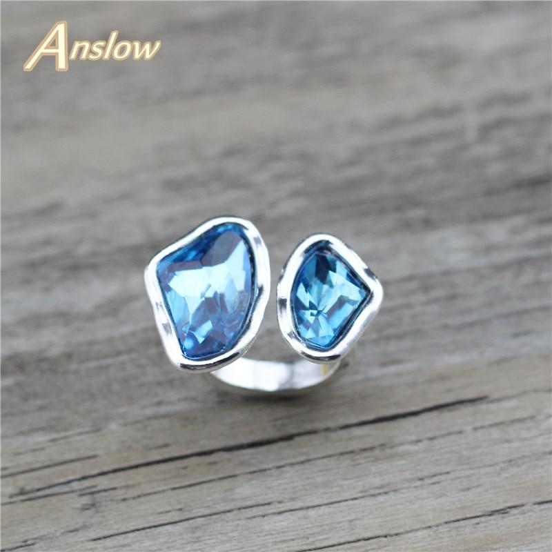 Anslow Merek Kualitas Origianl Desain Retro Antik Berlapis Perak Irregular Crystal Disesuaikan Wanita Pernikahan Cincin LOW0053AR