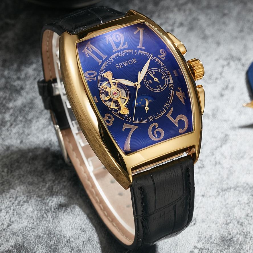 clássico masculino auto-enrolamento preto e branco relógios